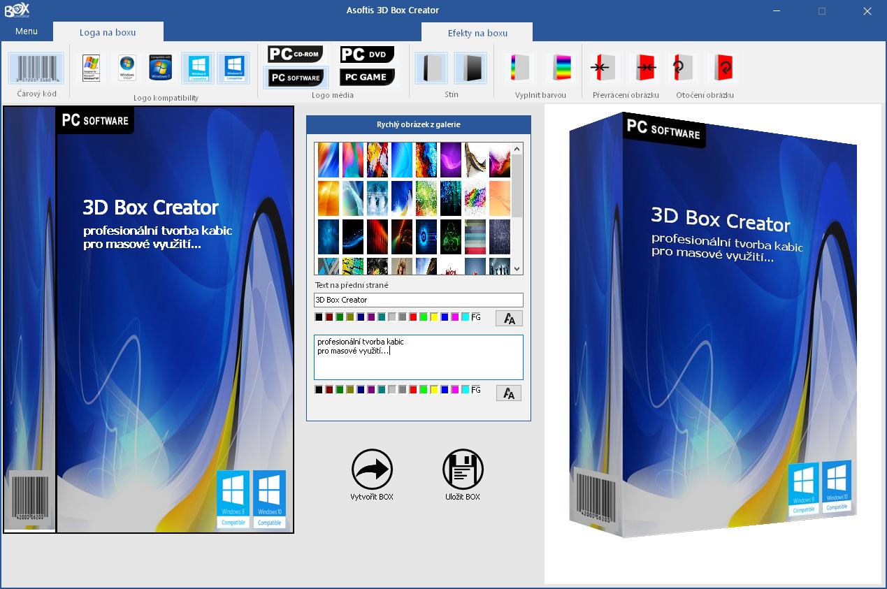 Asoftis 3D Box Creator: uživatelské prostředí