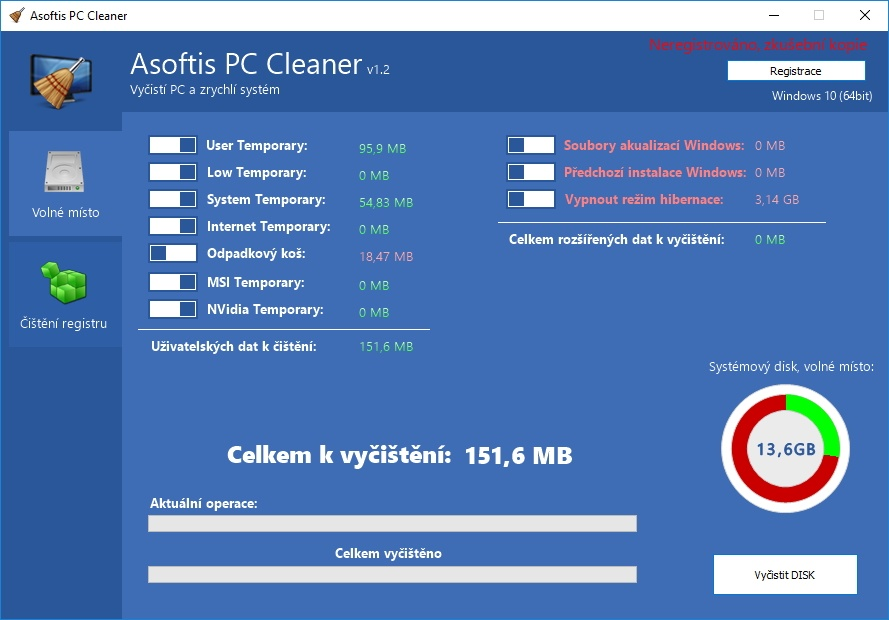 Cíle čištění a optimalizace počítače pomocí Asoftis PC Cleaner