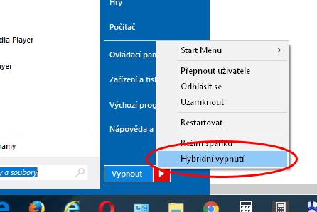 Mezi způsoby vypnutí počítače nechybí ani hybridní vypnutí - funkce Windows 8 a 10