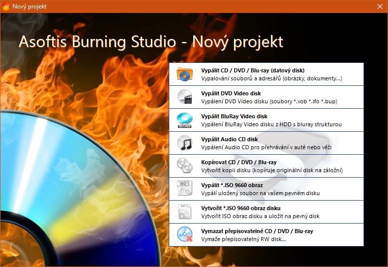 Asoftis Burning Studio: stačí jen vybrat vypalovací projekt a médium